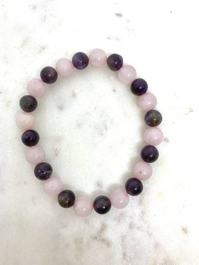 Amethyst and Rose Quartz Crystal Bracelet