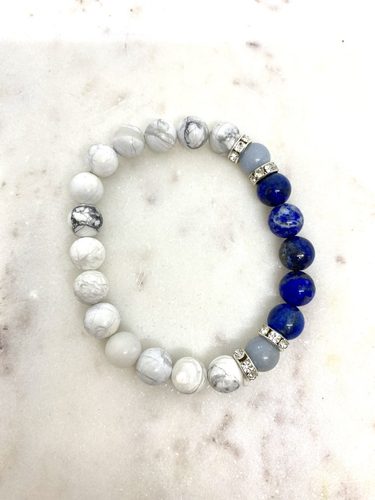 Howlite Angelite and Lapis Lazuli Crystal Bracelet