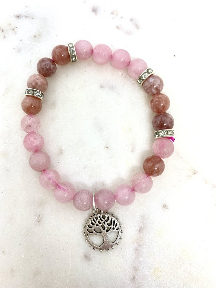 Rose Quartz and Sunstone Crystal Bracelet