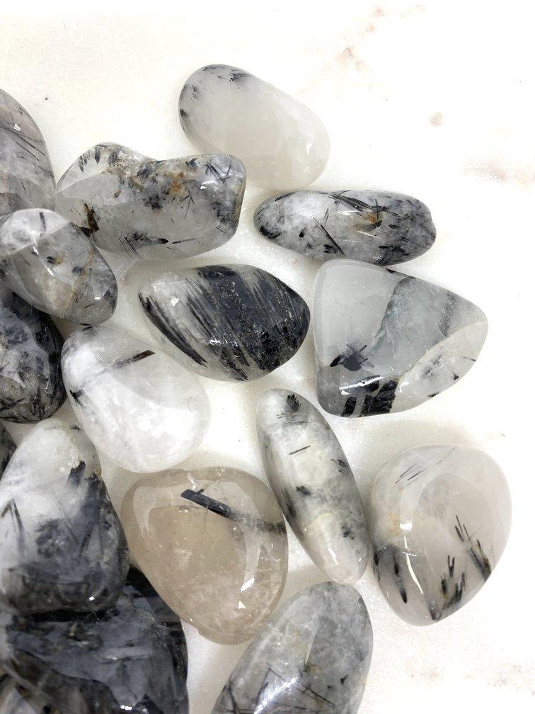 Tourmalated Quartz Crystal Tumbled Small (Each)